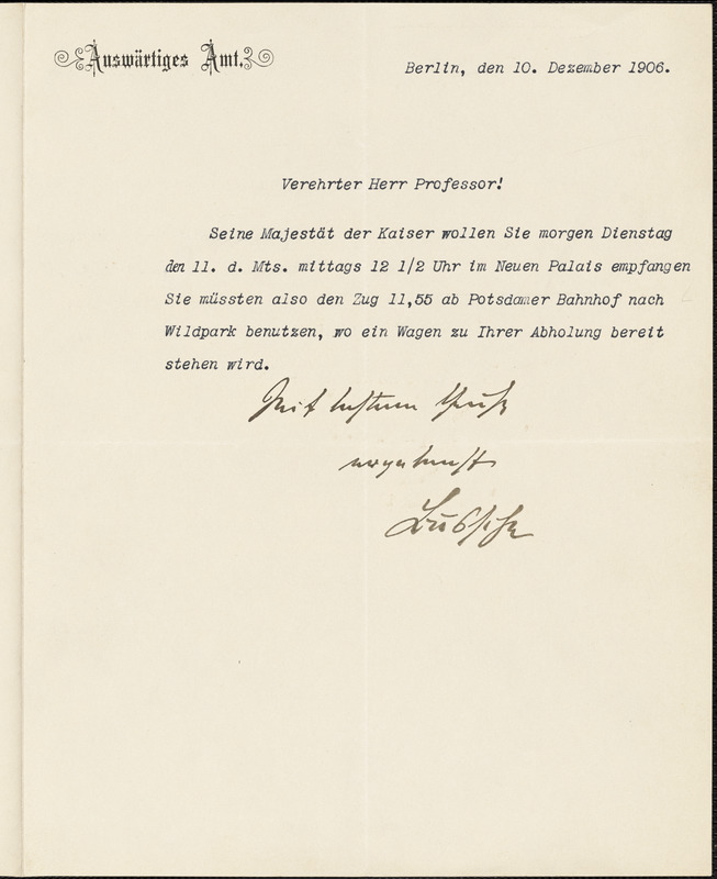 Bussche-Haddenhausen, Hilmar, 1867-1939 typed letter signed to Hugo Münsterberg, Berlin, 10 December 1906