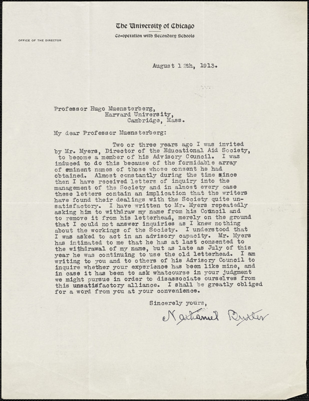 Butler, Nathaniel, 1853-1927 typed letter signed to Hugo Münsterberg, Chicago, 12 August 1913