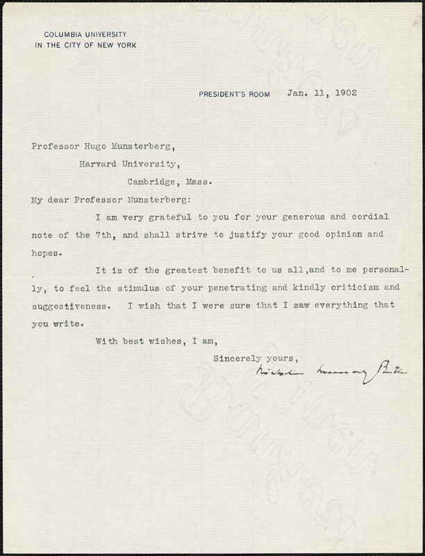 Butler, Nicholas Murray, 1862-1947 typed letter signed to Hugo Münsterberg, New York, 11 January 1902