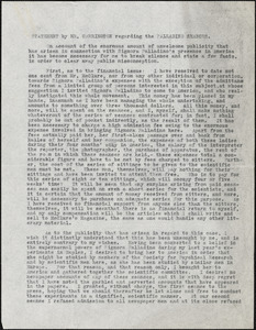 Manuscript document statement by Mr. Carrington regarding the Pallading Seances, New York, 18 November 1909