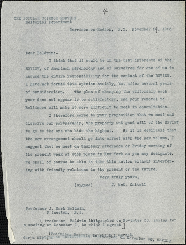 Cattell, James McKeen, 1860-1944 typed letter (copy) to J. Mark Baldwin, Garrison-on-Hudson, 26 November 1903