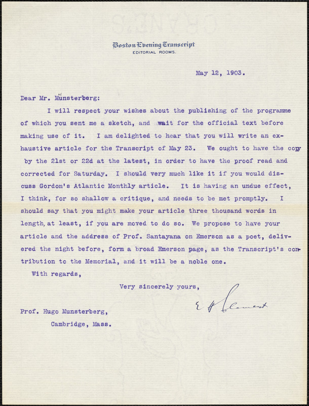 Clement, Edward Henry, 1843-1920 typed letter signed to Hugo Münsterberg, Boston, 12 May 1903