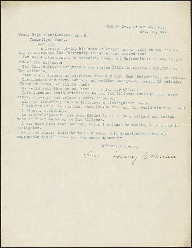 Colman, Henry, fl. 1909 typed letter signed to Hugo Münsterberg, Milwaukee, Wis., 10 November 1909