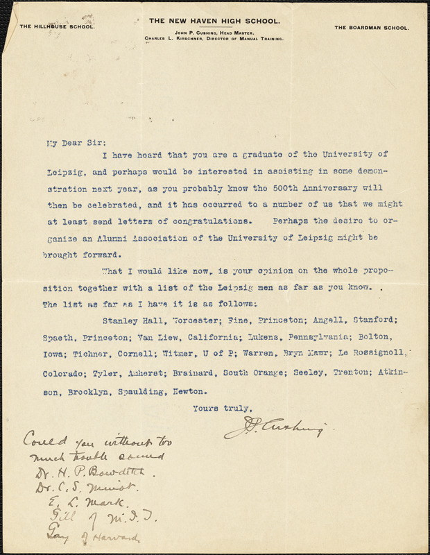 Cushing, John Pearsons, 1861-1941 typed letter signed to Hugo Münsterberg, New Haven, Conn.