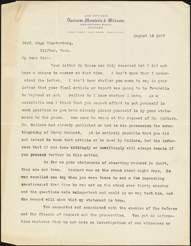 Darrow, Clarence Seward, 1857-1938 typed letter signed to Hugo Münsterberg, Chicago, 16 August 1907