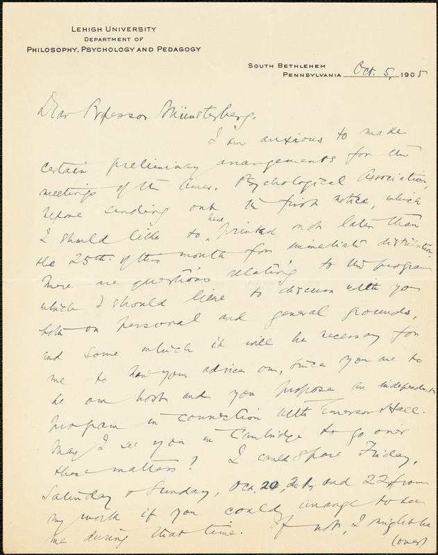 Davis, William Harper, fl. 1905 autograph letter signed to Hugo Münsterberg, South Bethlehem, Pa., 5 October 1905