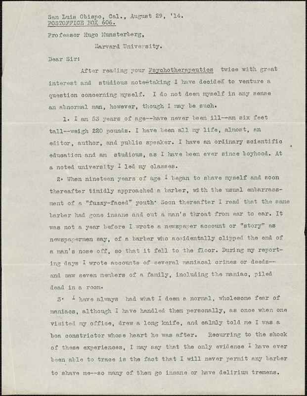 Deane, Hadley, fl. 1914 typed letter signed to Hugo Münsterberg, San Luis, Calif., 29 August 1914