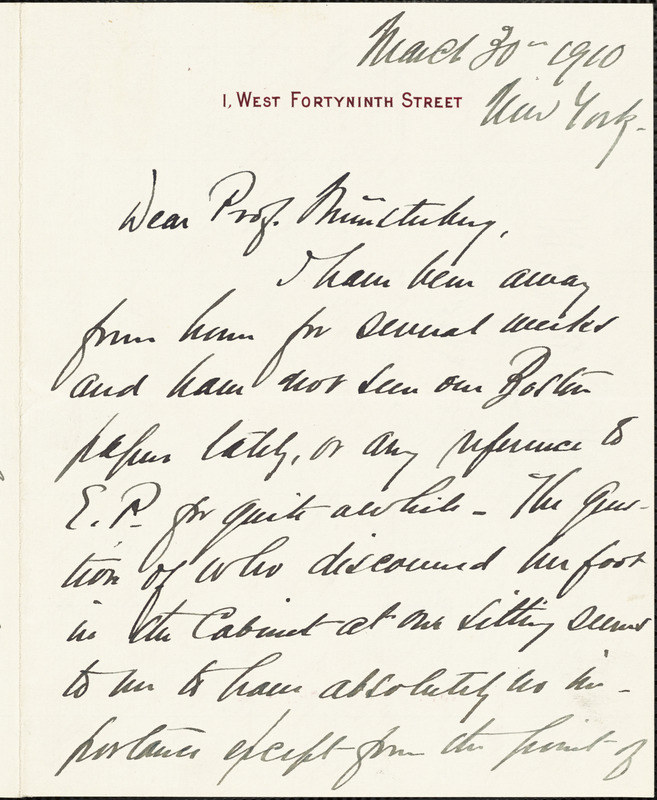 Dodd, George B., fl. 1910 autograph letter signed to Hugo Münsterberg, New York, 30 March 1910