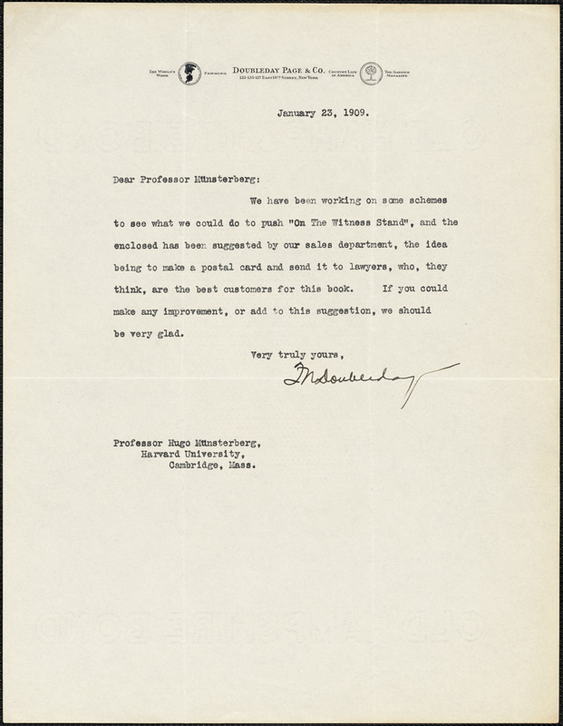 Doubleday, Frank Nelson, 1862-1934 typed letter signed to Hugo Münsterberg, New York, 23 January 1909