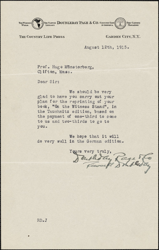 Doubleday, Russell, 1872-1949 typed letter signed to Hugo Münsterberg, Garden City, N.Y., 12 August 1915