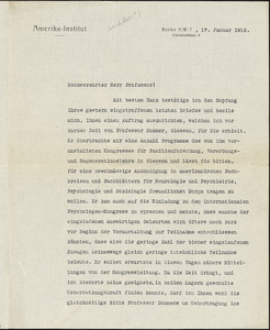 Drechsler, Robert Walter, fl. 1913 typed letter signed to Hugo Münsterberg, Berlin, 17 January 1912