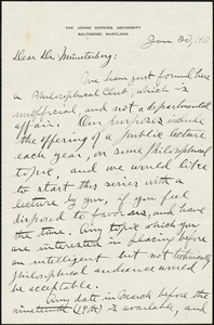 Dunlap, Knight, 1875-1949 autograph letter signed to Hugo Münsterberg, Baltimore, 20 January 1910