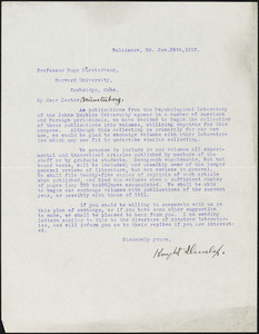 Dunlap, Knight, 1875-1949 typed letter signed to Hugo Münsterberg, Baltimore, 29 January 1912