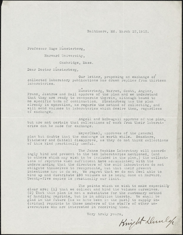 Dunlap, Knight, 1875-1949 typed letter signed to Hugo Münsterberg, Baltimore, 12 March 1912