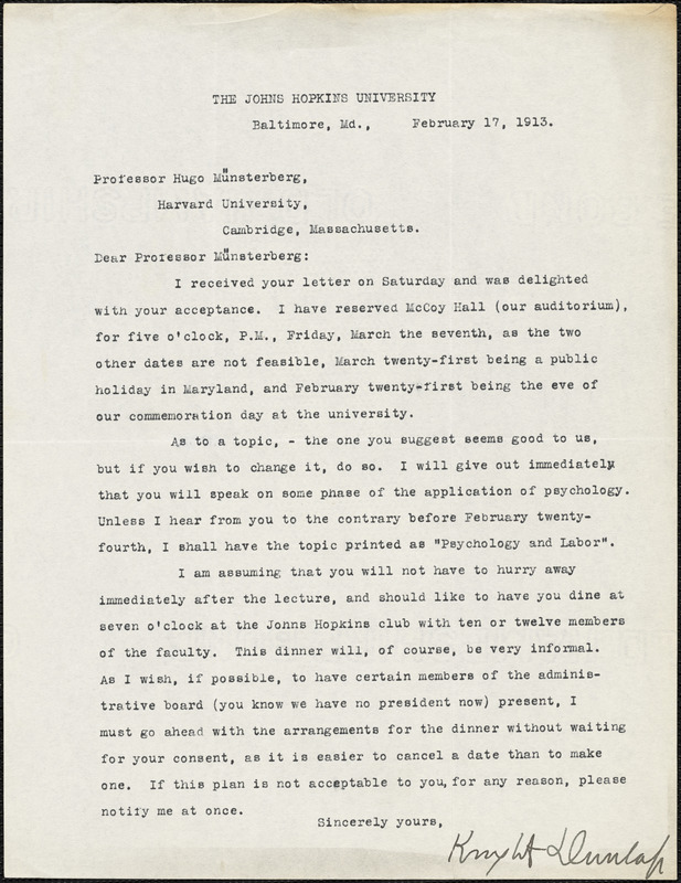 Dunlap, Knight, 1875-1949 typed letter signed to Hugo Münsterberg, Baltimore, 17 February 1913