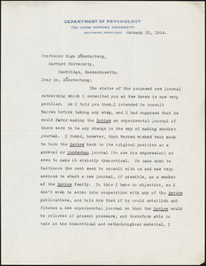 Dunlap, Knight, 1875-1949 typed letter signed to Hugo Münsterberg, Baltimore, 21 January 1914