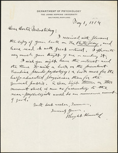 Dunlap, Knight, 1875-1949 autograph letter signed to Hugo Münsterberg, Baltimore, 1 May 1916