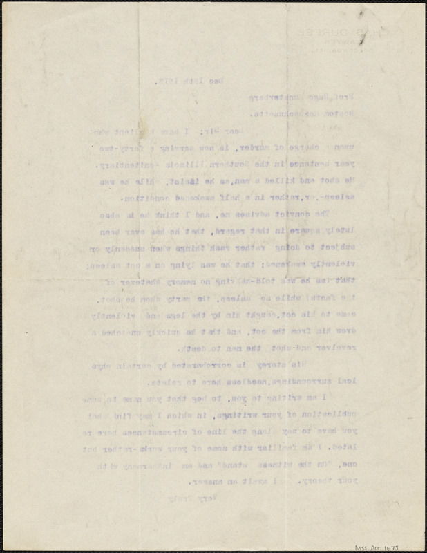Durfee, Charles, fl. 1913 typed letter signed to Hugo Münsterberg, Golconda, Ill., 15 December 1913