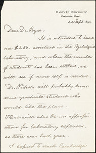 Eliot, Charles William, 1834-1926 autograph letter signed to Joshua Royce, Cambridge, Mass., 24 September 1892