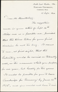 Eliot, Charles William, 1834-1926 autograph letter signed to Hugo Münsterberg, North East Harbor, Me., 18 September 1894