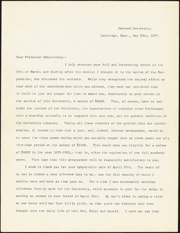 Eliot, Charles William, 1834-1926 typed letter signed to Hugo Münsterberg, North East Harbor, Me., 20 May 1897