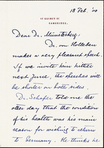 Eliot, Charles William, 1834-1926 autograph letter signed to Hugo Münsterberg, Cambridge, Mass., 18 February 1900