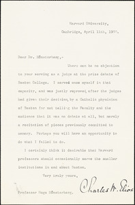 Eliot, Charles William, 1834-1926 typed letter signed to Hugo Münsterberg, Cambridge, Mass., 11 April 1900