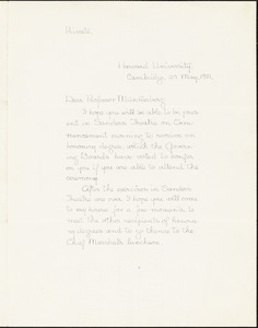 Eliot, Charles William, 1834-1926 manuscript letter signed to Hugo Münsterberg, Cambridge, Mass., 25 May 1901