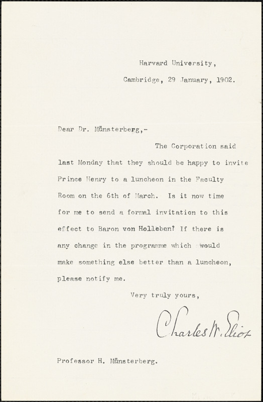 Eliot, Charles William, 1834-1926 typed letter signed to Hugo Münsterberg, Cambridge, Mass., 29 January 1902