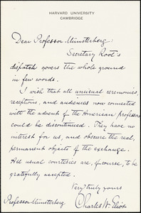 Eliot, Charles William, 1834-1926 autograph note (3rd person) to Hugo Münsterberg, Cambridge, Mass.