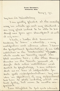 Hall, Granville Stanley, 1844-1924 manuscript letter signed to Hugo Münsterberg, Worcester, Mass., 7 May 1895