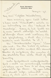 Hall, Granville Stanley, 1844-1924 manuscript letter signed to Hugo Münsterberg, Worcester, Mass., 10 May 1895