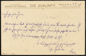 Harden, Maximilian, 1861-1927 autograph note signed to Hugo Münsterberg, Berlin, 11 September 1898
