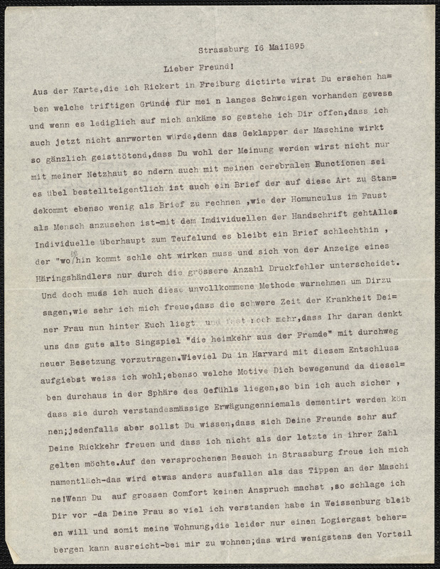 Hensel, Paul, 1860-1930 typed letter to Hugo Münsterberg, Strassburg, 16 May 1895