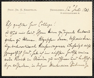 Kraepelin, Emil, 1856-1926 autograph note signed to Hugo Münsterberg, Heidelberg, Ger., 12 July 1903
