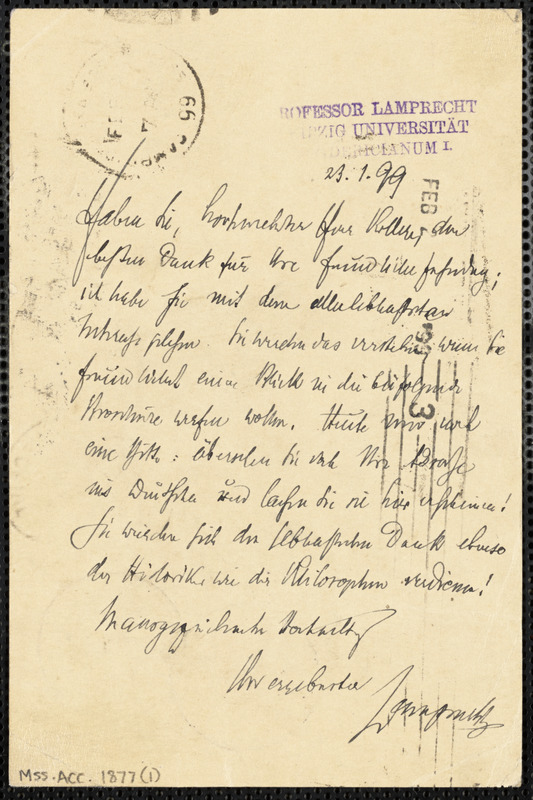Lamprecht, Karl G., 1856-1915 autograph note signed to Hugo Münsterberg, Leipzig, 23 January 1899