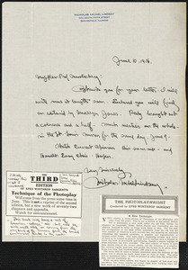 Lindsay, Vachel, 1879-1931 autograph letter signed to Hugo Münsterberg, Springfield, Ill., 10 June 1916