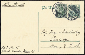 Marcks, Erich, 1861-1938 autograph note signed to Hugo Münsterberg, Hamburg, Ger., 20 January 1913
