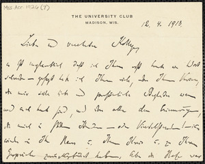 Marcks, Erich, 1861-1938 autograph letter signed to Hugo Münsterberg, Madison, Wis., 12 April 1913