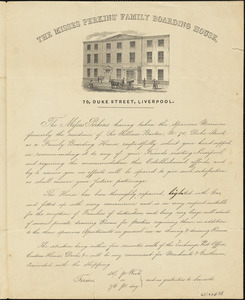"Introductory letter advertising ""The Misses Perkins' Family Boarding House,"" undated"