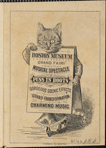 Advertising leaflet: Boston Museum Grand Fairy Musical Spectacle Puss in Boots
