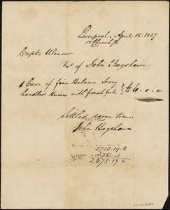 "Liverpool, invoice/receipt from John Bagshaw, April 15, 1837 for ""fine balance ivory handled knives with french forks"""