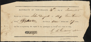 Receipt from Mayoralty of New Orleans for registering the report of passengers on board the Timoleon