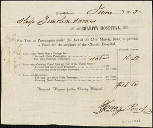 Receipt from Charity Hospital, New Orleans for tax paid on passengers under the Act of the 25th March, 1844 to provide a fund for support of the Charity Hospital