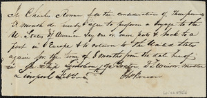 Agreement between Ct. Charles Rowan, steward and Capt. D.L. Winsor signed at Liverpool, Feb. 5 no year. A voyage between United States and Europe