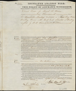 Insurance policy for Daniel L. Winsor for household furniture