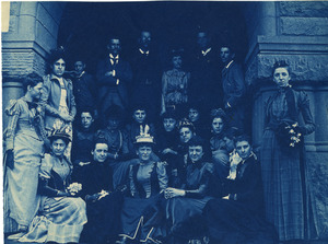 Students with faculty on steps of Newbury/ Exeter building