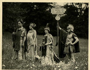 A group of students outside in costume