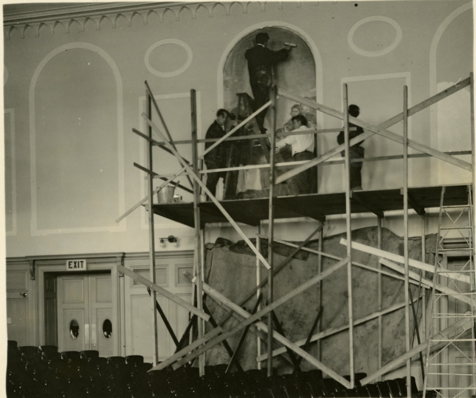 Placement of the murals into the Horace Mann Bridgewater Normal School Auditorium