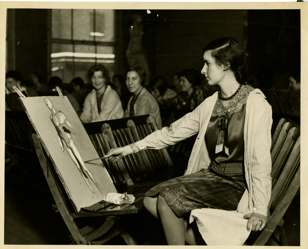 Student drawing a figure